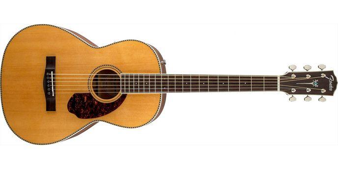 """Kytara tvaru """"Parlor"""" - menší tělo vhodné třeba na cesty."""